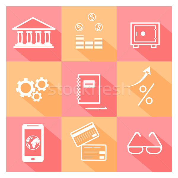 Stock photo: Financial investment, bank and business icons