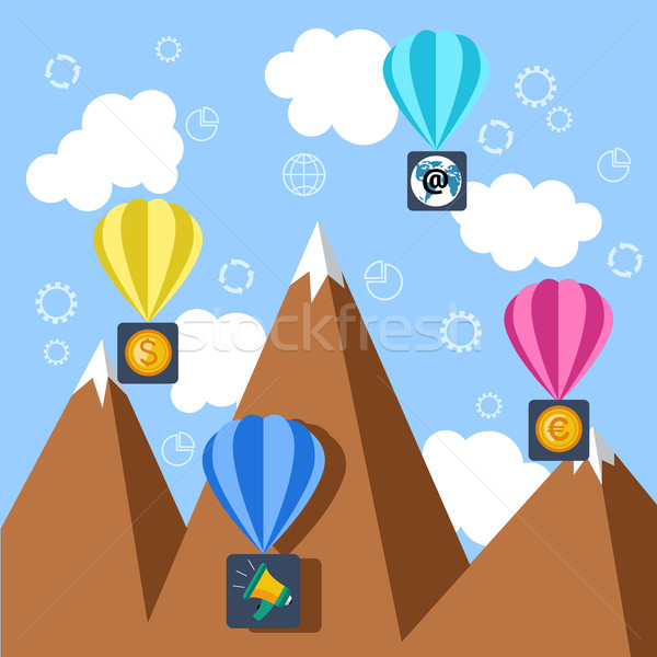 Hőlégballon pénz email feliratok repülés hegy Stock fotó © robuart