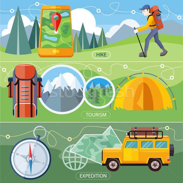 Ir de excursión expedición turismo hombre viajero mochila Foto stock © robuart