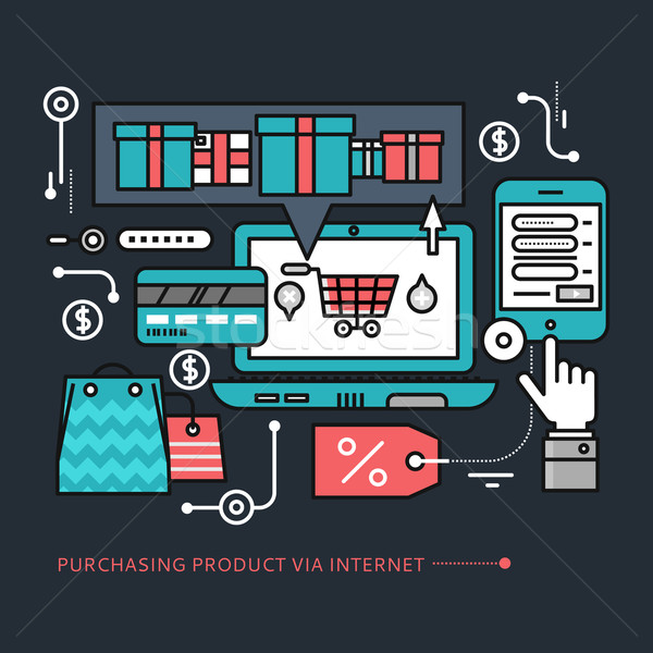 Purchasing, Delivery Product via Internet on Black Stock photo © robuart