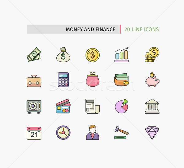 Flat Thin Line Icons of Money and Finance Stock photo © robuart