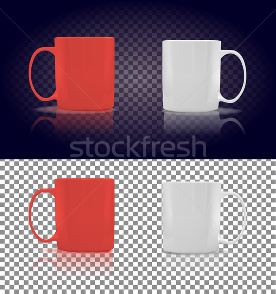 Set of Cup or Mug White and Red Stock photo © robuart