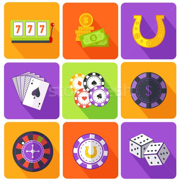 Conjunto ícones jogos de azar jogos estilo cassino Foto stock © robuart