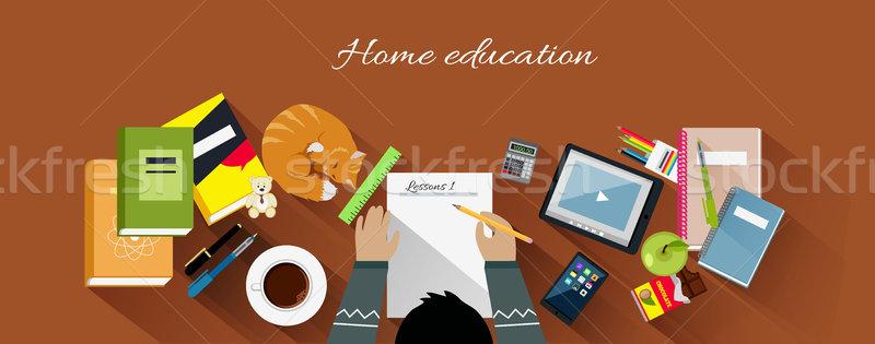 Otthon oktatás terv gyerekek iskola tanul Stock fotó © robuart