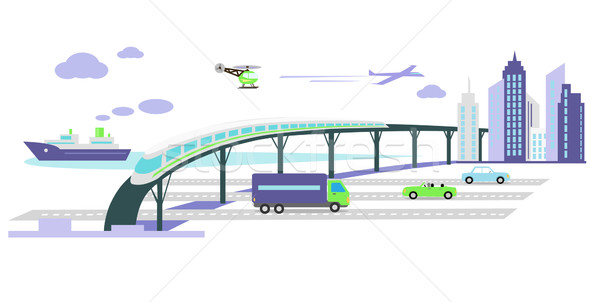 Development of Transport Infrastructure Icon Flat Stock photo © robuart