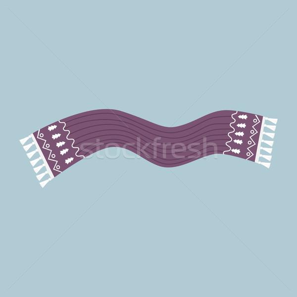 Pasiasty szalik odizolowany ikona zimą cartoon Zdjęcia stock © robuart