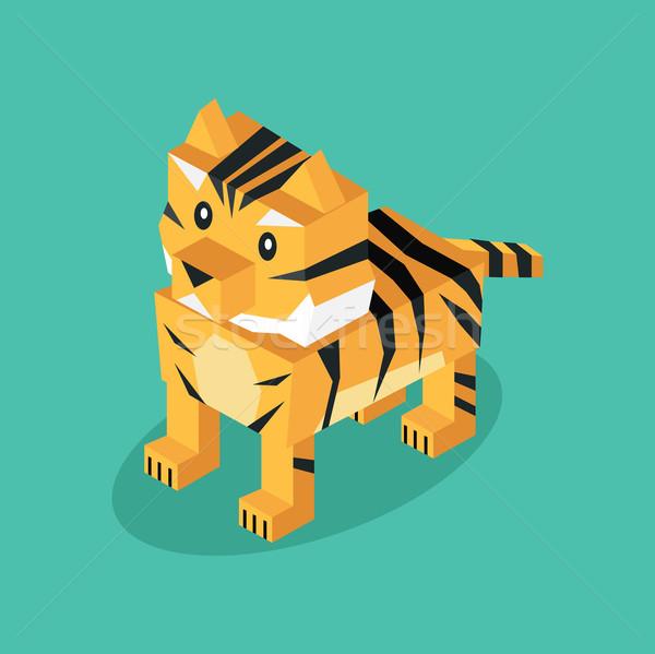 Stockfoto: Isometrische · 3D · tijger · dier · geïsoleerd · buit
