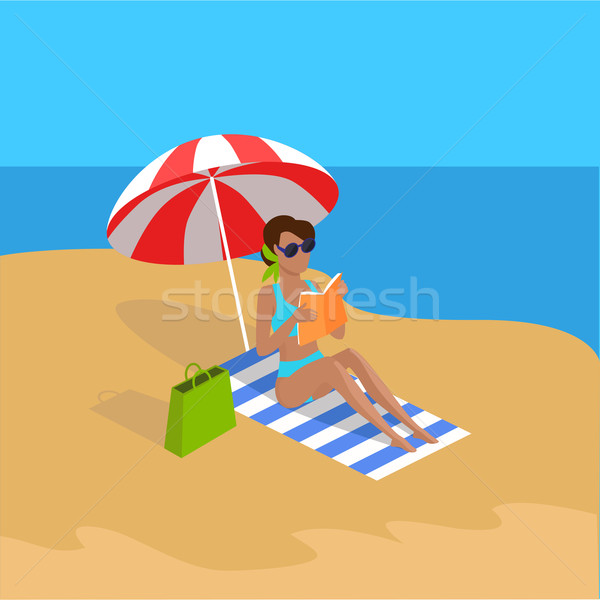 Yaz tatili tropikal plaj örnek vektör dizayn boş Stok fotoğraf © robuart