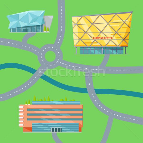 Vásárlás központ térkép terv modern irodaépület Stock fotó © robuart