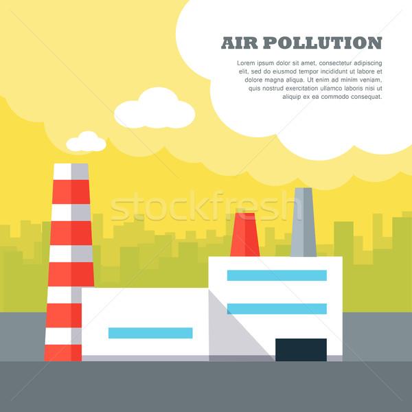 Air pollution vecteur style design bannière Photo stock © robuart