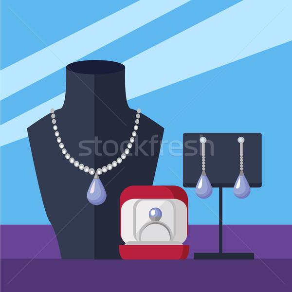 宝石 ストア ベクトル デザイン ショーケース ネックレス ストックフォト © robuart