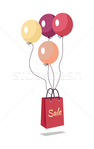 Shopping Bag with Text Sale Flying on Balloons. Stock photo © robuart
