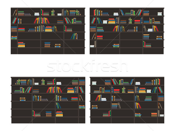 Set of Bookshelves Filled with Books Flat Vector Stock photo © robuart