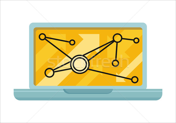Laptop infographics scherm icon online business Stockfoto © robuart