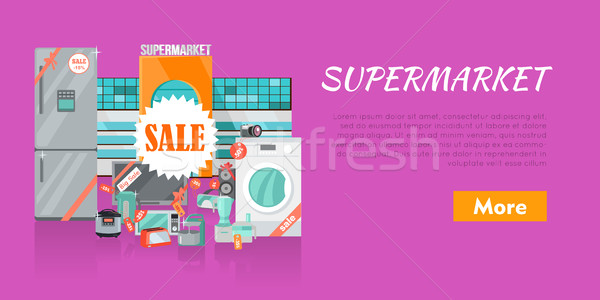 Supermarket Sale. Household Appliances Flat Style Stock photo © robuart