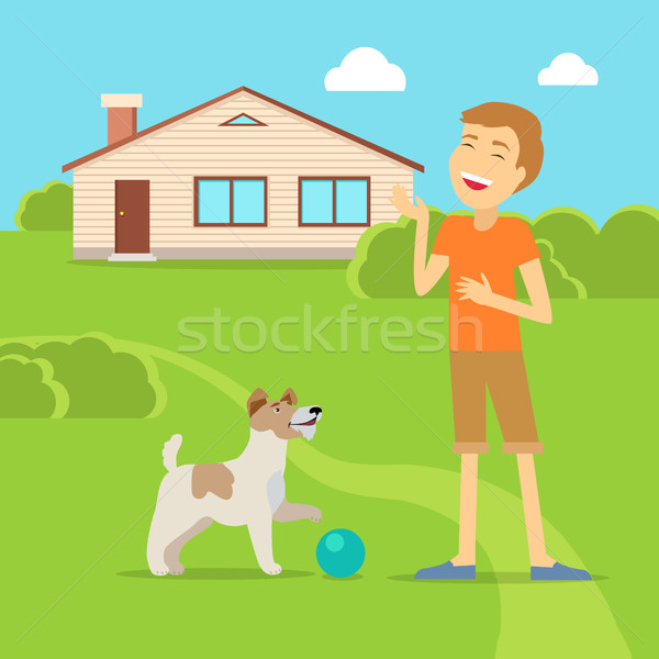 Sanguine Temperament Type Boy with Dog. Stock photo © robuart