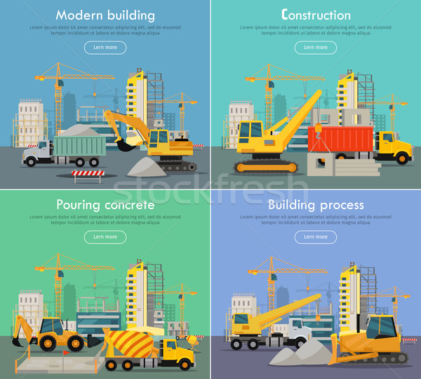 Process of Construction Residential Houses Isolated Stock photo © robuart