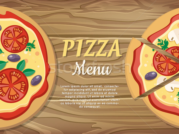 Pizza menu banner pizzeria restaurant advertentie Stockfoto © robuart