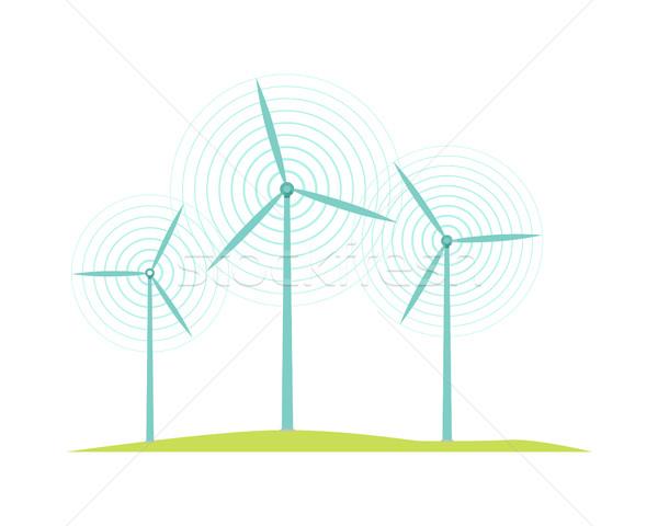 Windmolen iconen geïsoleerd witte ontwerp stijl Stockfoto © robuart