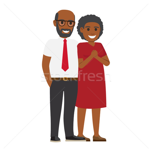 Middle-Aged Pair Standing Together Flat Vector Stock photo © robuart
