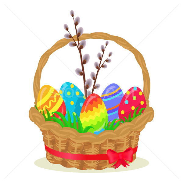 Colorful Eggs, Brench of Willow in Wicker Basket Stock photo © robuart