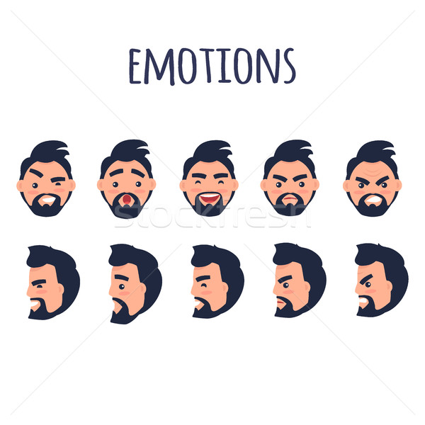 Male Facial Emotions Vector Collection on White Stock photo © robuart