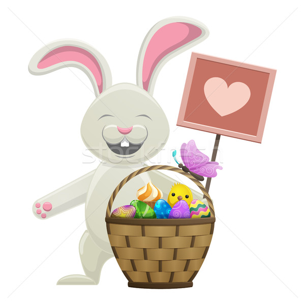 Stock photo: Cartoon Easter Bunny with Basket Illustration