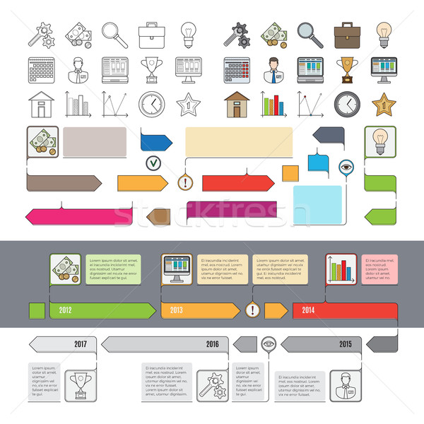 Set of Timeline Icons with Infographic Diagrams Stock photo © robuart