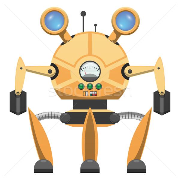 Yellow Metallic Robot with Three Legs Drawn Icon Stock photo © robuart