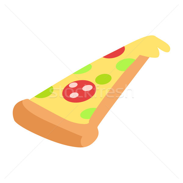 Slice of Hand Drawn Appetizing Pepperoni Pizza Stock photo © robuart