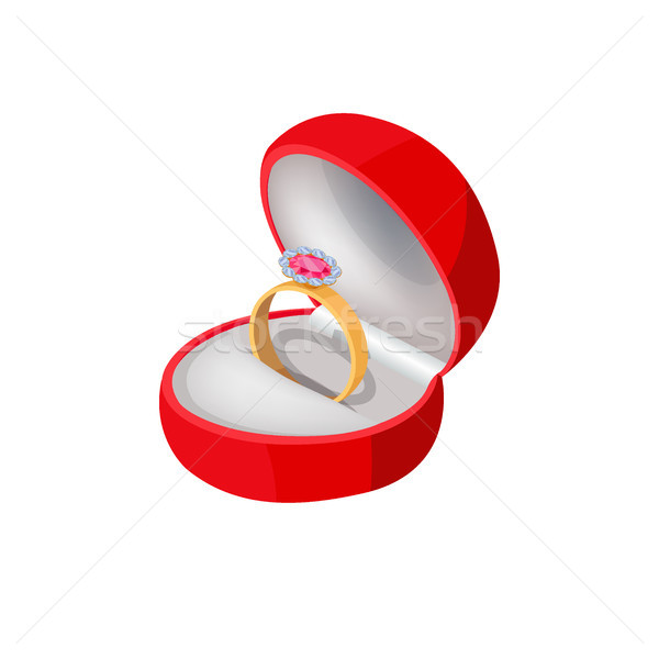 Engagement Ring in Red Box with Precious Stone Stock photo © robuart