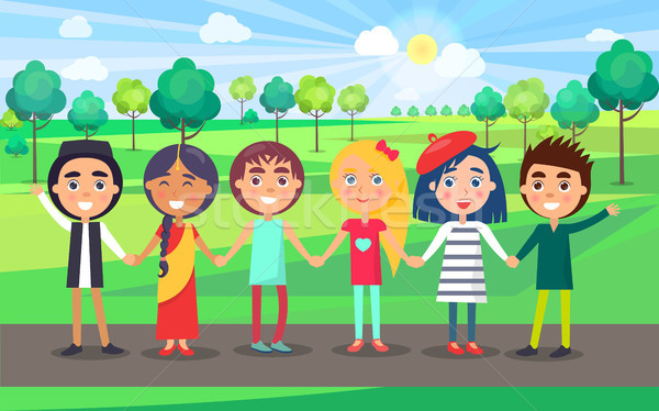 Multicultural Friendly Group of Kids in Summer Park Stock photo © robuart