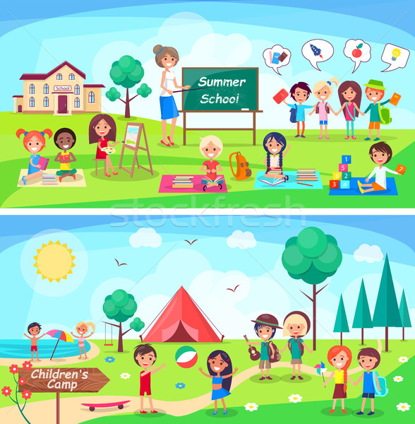 Summer School and Childrens Camp Illustrations Stock photo © robuart