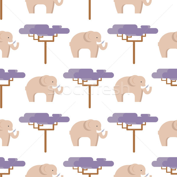 Elephant in Beige and Baobab Tree Seamless Pattern Stock photo © robuart