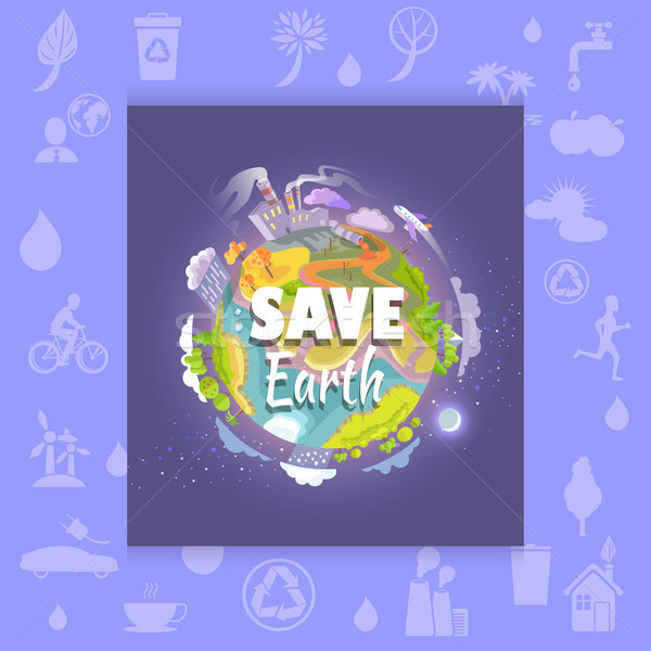 Save Earth Poster with Polluted Plant and Factory Stock photo © robuart