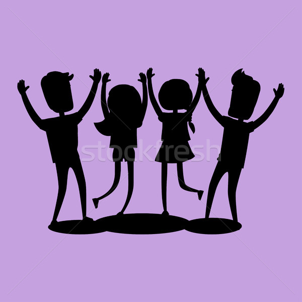 Company of Friends Gives High Five Silhouette Stock photo © robuart
