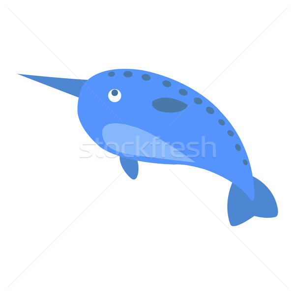 Cute Narwhal Cartoon Flat Vector Sticker or Icon Stock photo © robuart