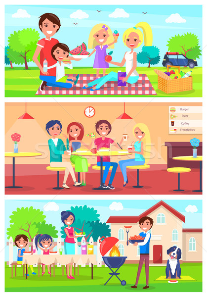 Familie samen uit home illustraties ingesteld Stockfoto © robuart