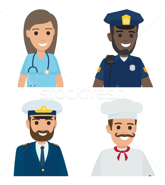 Professions Vector Doctor, Policeman, Sailor, Cook Stock photo © robuart