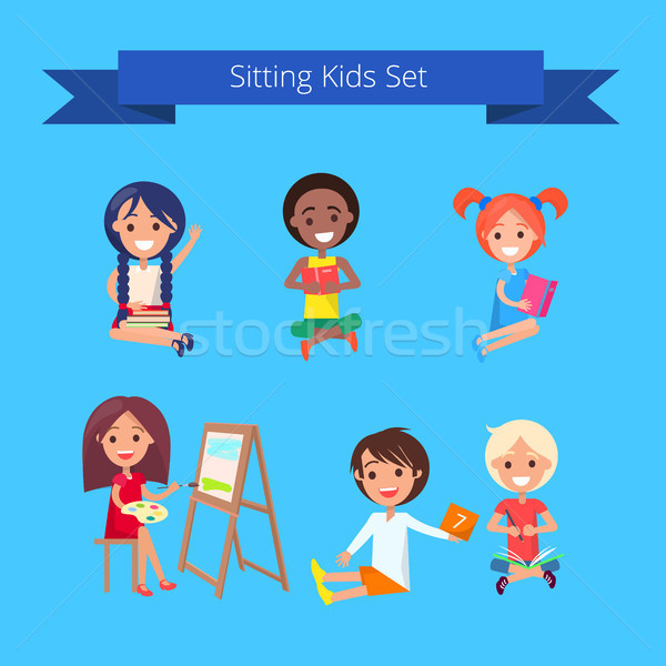 Sitting Kids Set Illustration on Light Blue Stock photo © robuart