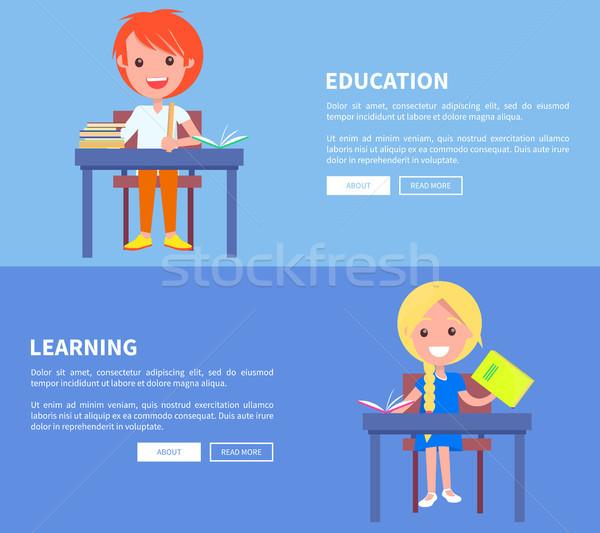 образование обучения набор плакат мальчика девушки Сток-фото © robuart