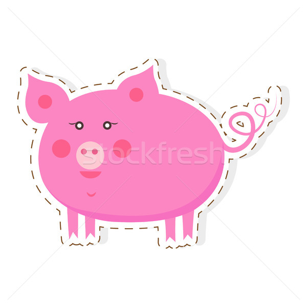 Cute Piggy Cartoon Flat Vector Sticker or Icon Stock photo © robuart