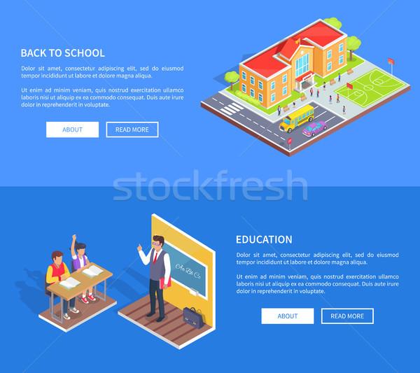 Volver a la escuela carteles ilustración educación vector Foto stock © robuart