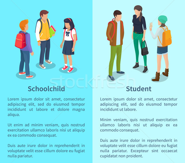Schoolchild and Student Set of Posters with Text Stock photo © robuart
