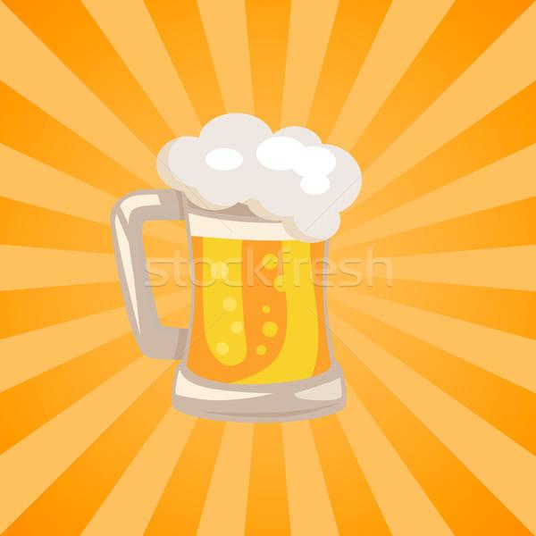 Geleneksel cam bira beyaz köpük vektör Stok fotoğraf © robuart