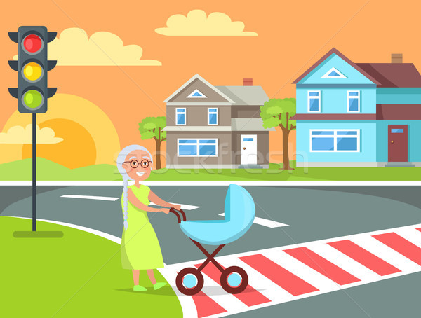 Grey Hair Lady with Pram Going on Crosswalk Vector Stock photo © robuart
