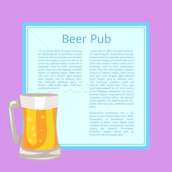 Beer Pub Poster with Text Depicting Full Glass Mug Stock photo © robuart