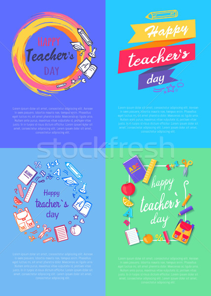 Four Pictures Teachers Day Vector Illustration Stock photo © robuart