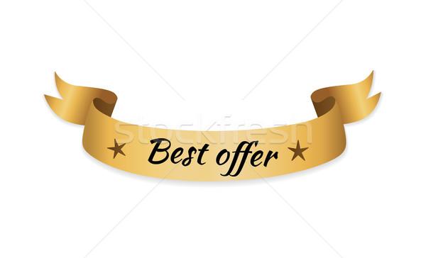 En iyi teklif altın etiket şerit Yıldız Stok fotoğraf © robuart