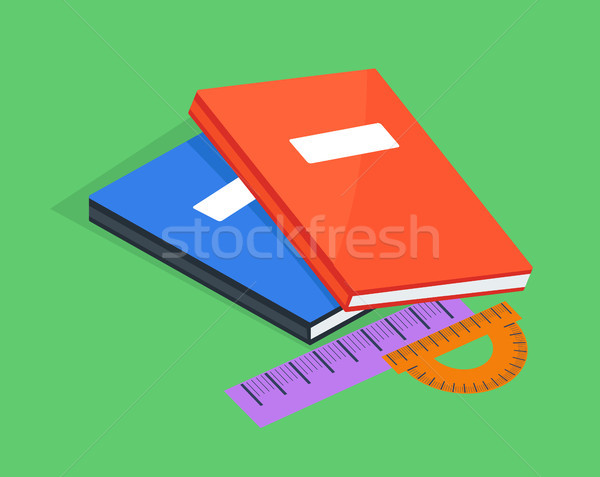 Two Copybooks Red and Blue, Ruler and Protractor Stock photo © robuart